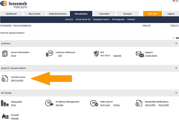 Customer Portal Console screenshot